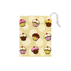 Colorful Cupcakes Pattern Drawstring Pouches (small)  by Valentinaart