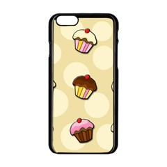 Colorful Cupcakes Pattern Apple Iphone 6/6s Black Enamel Case by Valentinaart