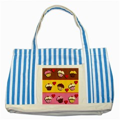 Love Cupcakes Striped Blue Tote Bag by Valentinaart