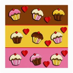 Love Cupcakes Medium Glasses Cloth (2-side) by Valentinaart