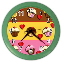Love Cupcakes Color Wall Clocks by Valentinaart
