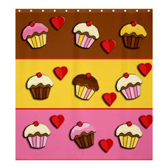 Love Cupcakes Shower Curtain 66  X 72  (large)  by Valentinaart