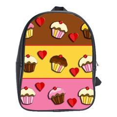 Love Cupcakes School Bags(large)  by Valentinaart