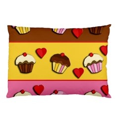 Love Cupcakes Pillow Case (two Sides) by Valentinaart