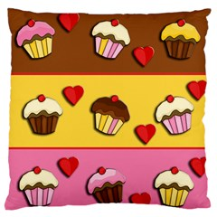 Love Cupcakes Large Flano Cushion Case (one Side) by Valentinaart