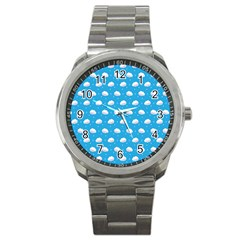 Seamless Fluffy Cloudy And Sky Sport Metal Watch