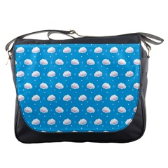 Seamless Fluffy Cloudy And Sky Messenger Bags