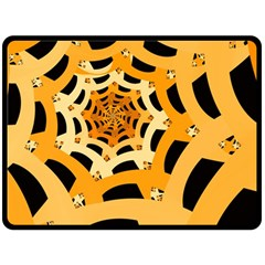 Spider Helloween Yellow Fleece Blanket (large)