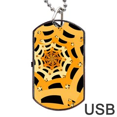 Spider Helloween Yellow Dog Tag Usb Flash (two Sides)