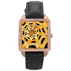 Spider Helloween Yellow Rose Gold Leather Watch  by AnjaniArt