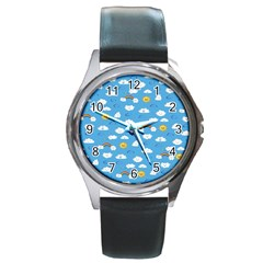 White Clouds Round Metal Watch