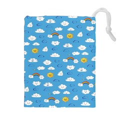 White Clouds Drawstring Pouches (extra Large)