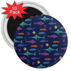 Twiddy Tropical Fish Pattern 3  Magnets (10 Pack)  by AnjaniArt