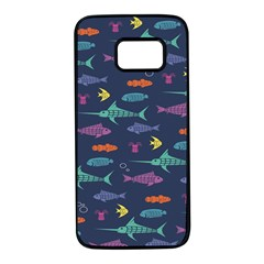 Twiddy Tropical Fish Pattern Samsung Galaxy S7 Black Seamless Case