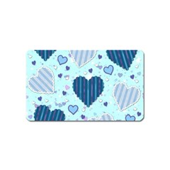 Light And Dark Blue Hearts Magnet (name Card) by LovelyDesigns4U