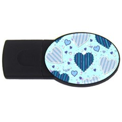 Light And Dark Blue Hearts Usb Flash Drive Oval (2 Gb)  by LovelyDesigns4U