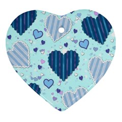 Light And Dark Blue Hearts Heart Ornament (2 Sides) by LovelyDesigns4U
