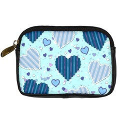 Light And Dark Blue Hearts Digital Camera Cases by LovelyDesigns4U