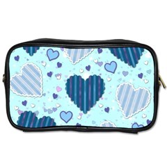 Light And Dark Blue Hearts Toiletries Bags 2 Side by LovelyDesigns4U