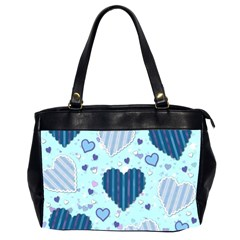 Light And Dark Blue Hearts Office Handbags (2 Sides)  by LovelyDesigns4U