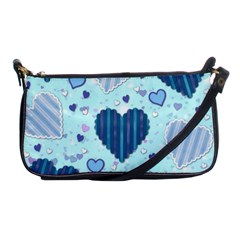 Light And Dark Blue Hearts Shoulder Clutch Bags by LovelyDesigns4U