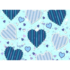 Light And Dark Blue Hearts Birthday Cake 3d Greeting Card (7x5) by LovelyDesigns4U