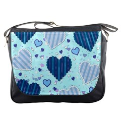 Light And Dark Blue Hearts Messenger Bags by LovelyDesigns4U