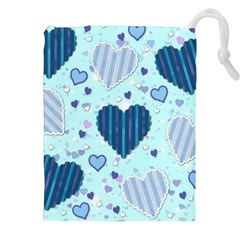 Light And Dark Blue Hearts Drawstring Pouches (xxl) by LovelyDesigns4U