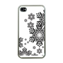 Beautiful Black And White Snowflakes  Apple Iphone 4 Case (clear) by Brittlevirginclothing