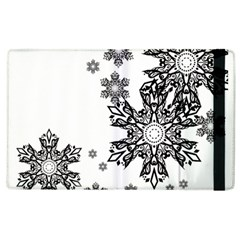 Beautiful Black Ans White Snowflakes Apple Ipad 2 Flip Case by Brittlevirginclothing