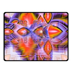 Crystal Star Dance, Abstract Purple Orange Double Sided Fleece Blanket (small)  by DianeClancy