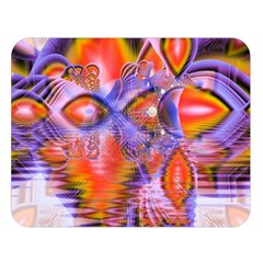 Crystal Star Dance, Abstract Purple Orange Double Sided Flano Blanket (large)  by DianeClancy