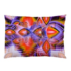 Crystal Star Dance, Abstract Purple Orange Pillow Case by DianeClancy