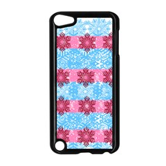 Pink Snowflakes Pattern Apple Ipod Touch 5 Case (black) by Brittlevirginclothing