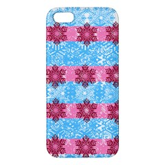 Pink Snowflakes Pattern Apple Iphone 5 Premium Hardshell Case by Brittlevirginclothing