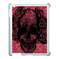 Vintage Pink Flowered Skull Pattern  Apple Ipad 3/4 Case (white) by Brittlevirginclothing