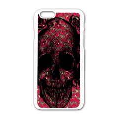 Vintage Pink Flowered Skull Pattern  Apple Iphone 6/6s White Enamel Case by Brittlevirginclothing