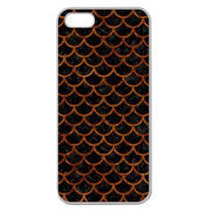 Scales1 Black Marble & Brown Marble Apple Seamless Iphone 5 Case (clear) by trendistuff