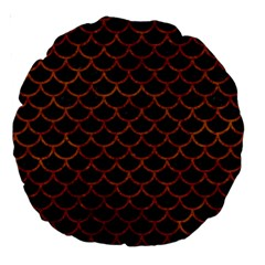 Scales1 Black Marble & Brown Marble Large 18  Premium Round Cushion  by trendistuff
