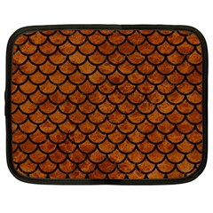 Scales1 Black Marble & Brown Marble (r) Netbook Case (large) by trendistuff