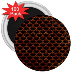 Scales3 Black Marble & Brown Marble 3  Magnet (100 Pack) by trendistuff
