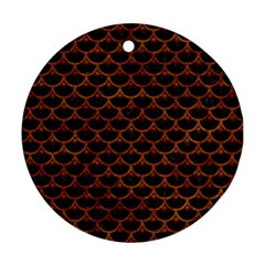 Scales3 Black Marble & Brown Marble Round Ornament (two Sides) by trendistuff