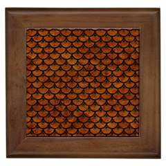 Scales3 Black Marble & Brown Marble (r) Framed Tile