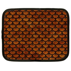 Scales3 Black Marble & Brown Marble (r) Netbook Case (xxl) by trendistuff
