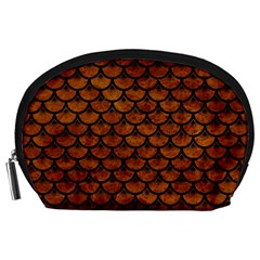 Scales3 Black Marble & Brown Marble (r) Accessory Pouch (large) by trendistuff