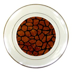 Skin1 Black Marble & Brown Marble Porcelain Plate by trendistuff