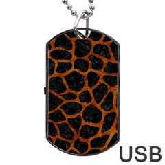 Skin1 Black Marble & Brown Marble (r) Dog Tag Usb Flash (two Sides) by trendistuff