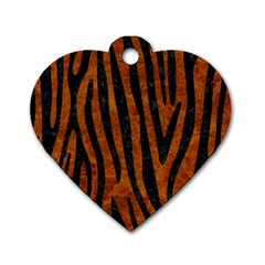 Skin4 Black Marble & Brown Marble Dog Tag Heart (one Side) by trendistuff