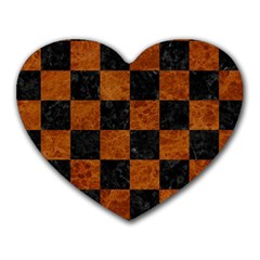 Square1 Black Marble & Brown Marble Heart Mousepad by trendistuff
