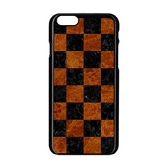 Square1 Black Marble & Brown Marble Apple Iphone 6/6s Black Enamel Case by trendistuff